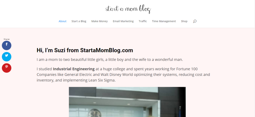 start a mom blog about page
