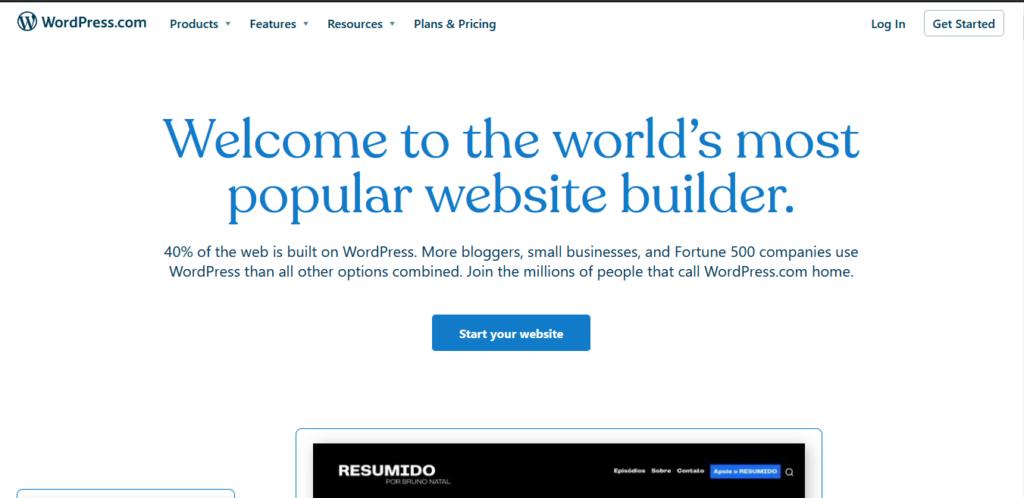 wordpress.com create a free website or a blog