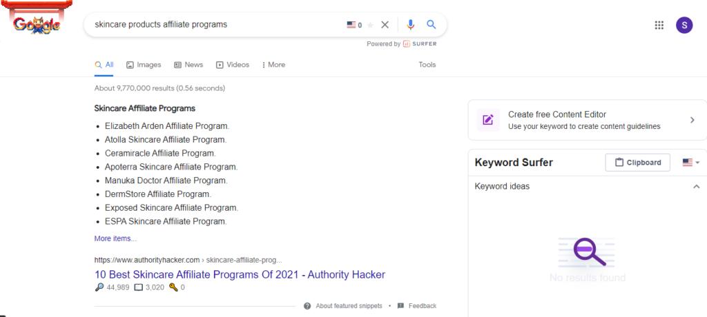 skincare affiliate programs lists on Google
