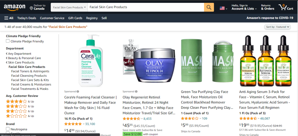 skincare products on Amazon for affiliate