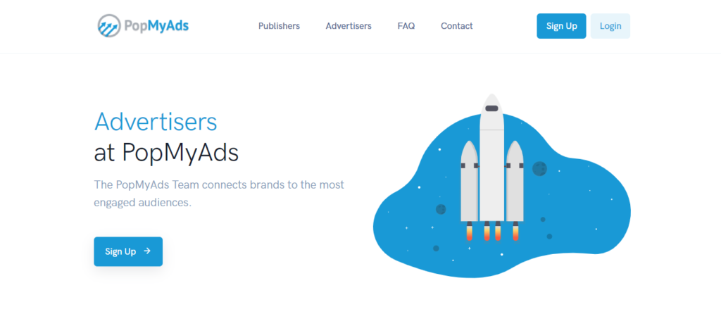 Pop my ads advertisers page