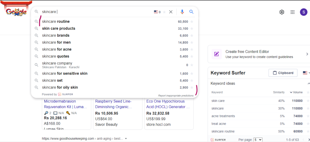 skincare keyword market research on Google
